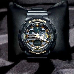 G-Shock Black and Gold Analog Digital Resin Watch